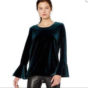 Calvin Klein Emerald Green Velvet Bell Sleeve Top